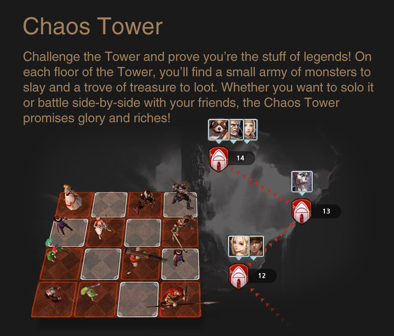 Chaos Tower : Challenge the Tower and prove you're the stuff of legends! On each floor of the Tower, you'll find a small army of monsters to slay and a trove of treasure to loot. Whether you want to solo it or battle side-by-side with your friends, the Chaos Tower promises glory and riches!