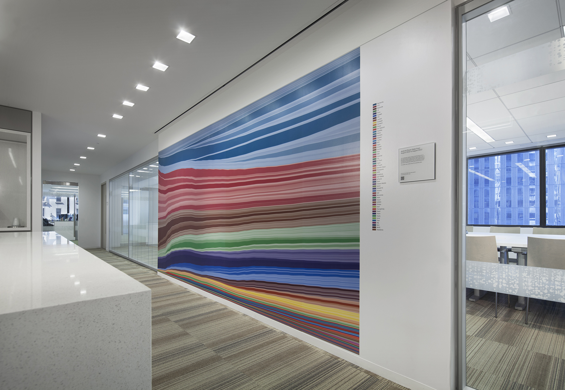 A mural in ITG's New York office, created by Landor and Padgett and Company