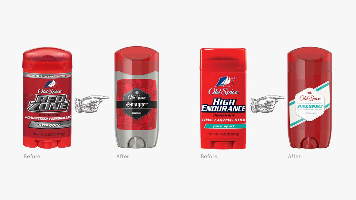 Before After of Old Spice Product Line