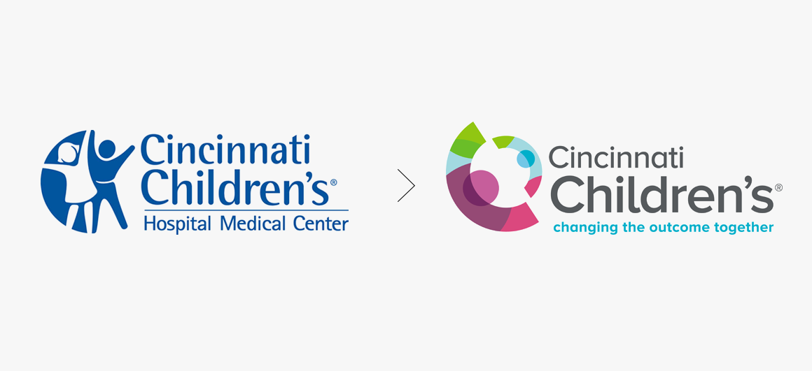 Cincinnati Children's Hospital branding before after