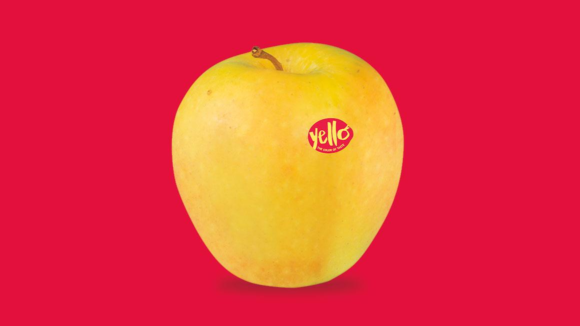 yello label on apple