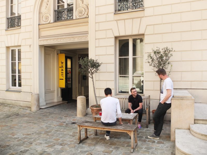 Group outside the Landor Paris office; Inside the studio with Landor Paris' Tristan Macherel