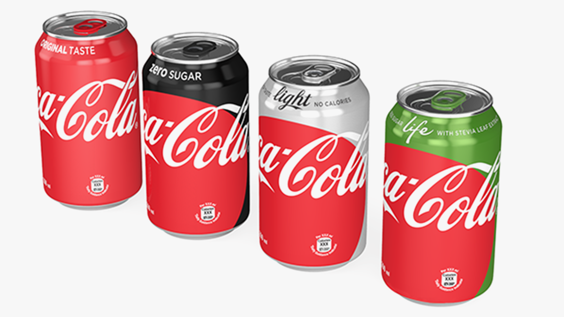 New can design without Coke's dynamic ribbon