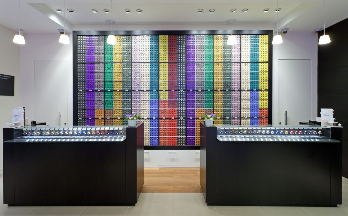 Example of good brand strategy from Nespresso boutique in St Petersburg, Russia
