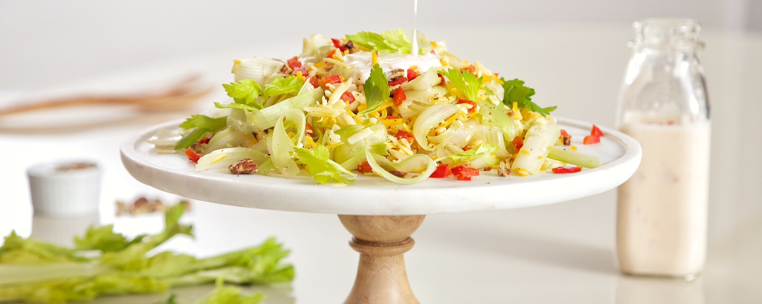 Shaved celery salad with dribble