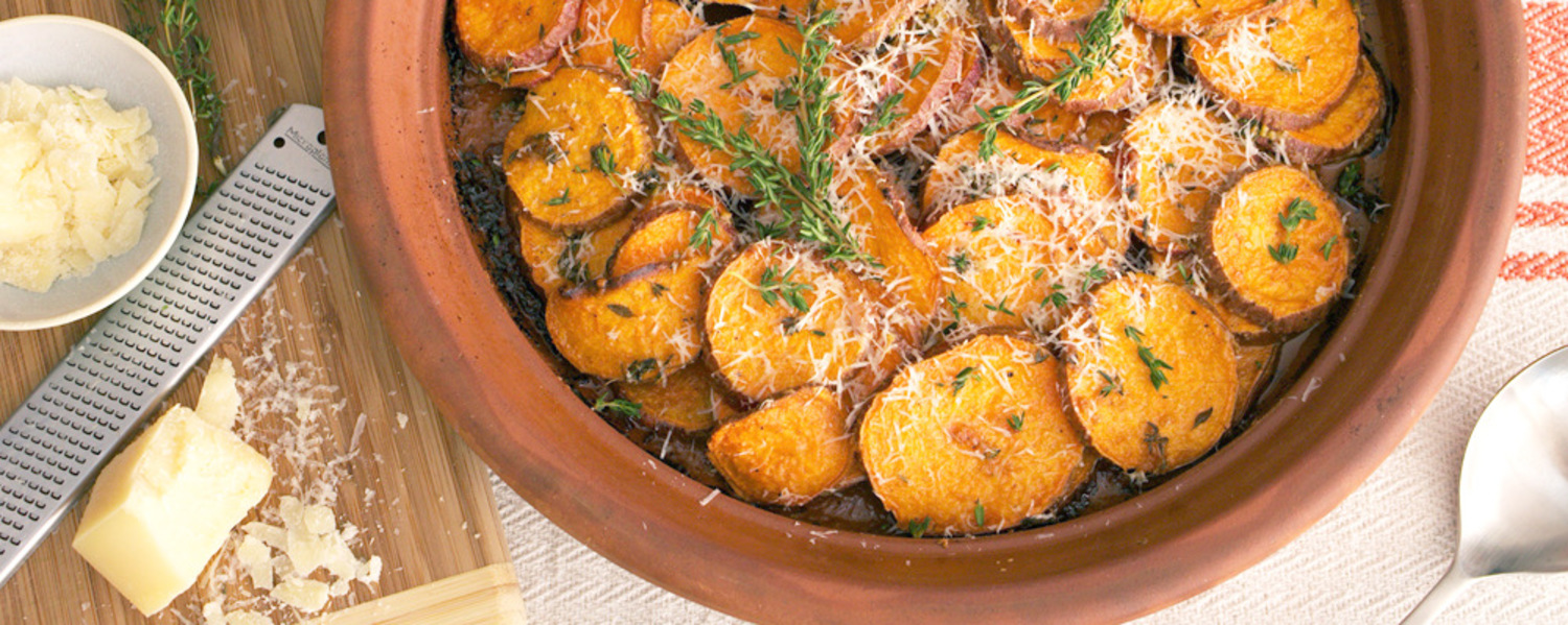 Roasted sweet potatoes with parmesan and thyme web