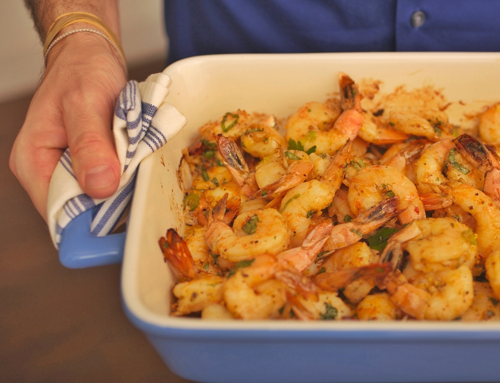 Baked shrimp with honey   ginger