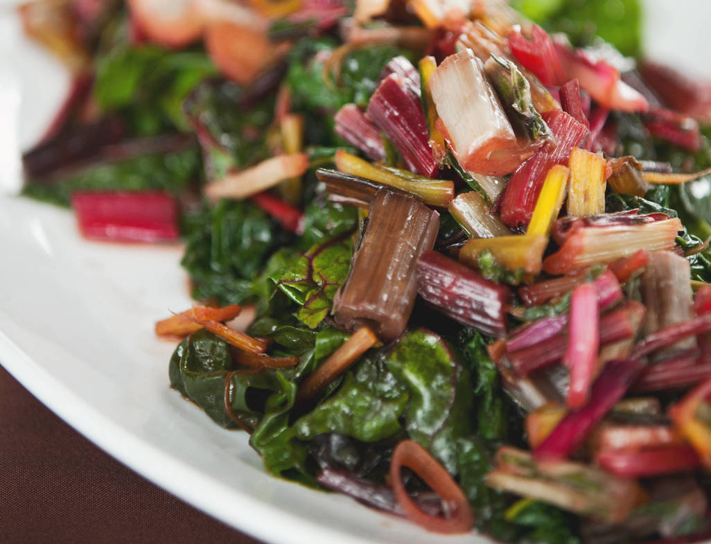 Quick braised rainbow chard with red wine