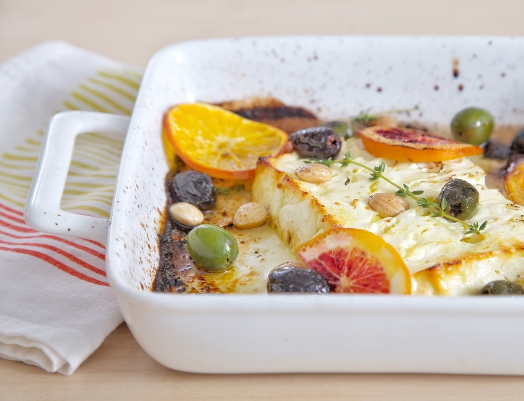 Baked feta with olives and ora