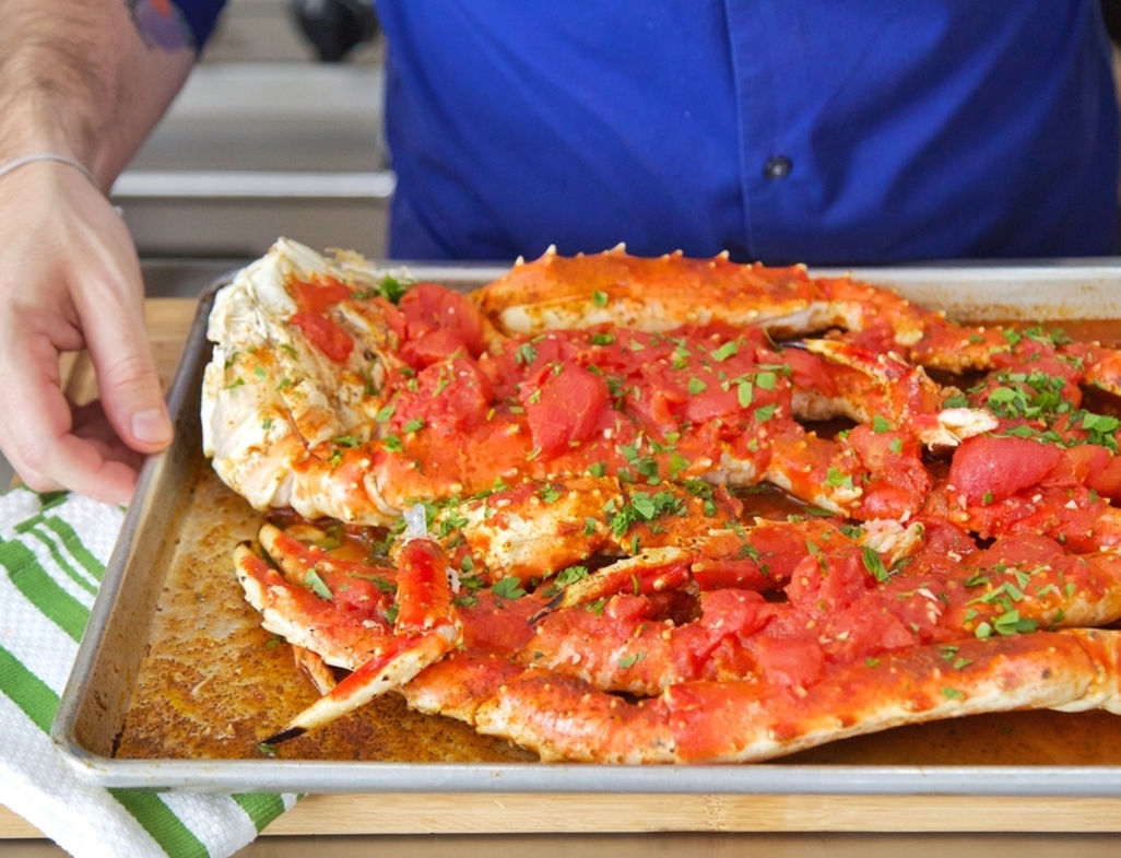 Spicy tomato king crab legs