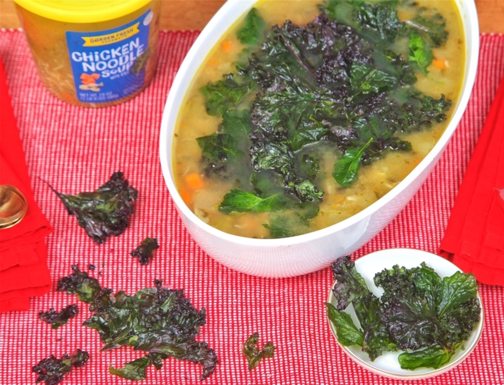 Holiday chicken noodle with crispy kale