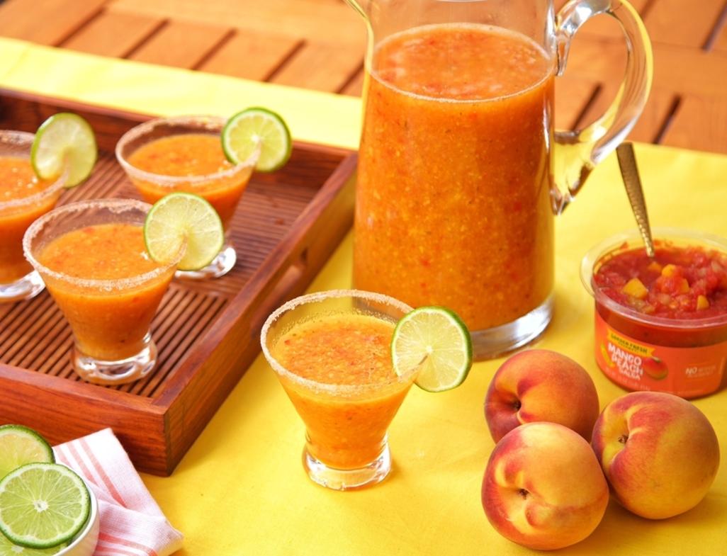 Frozen peach salsa margarita