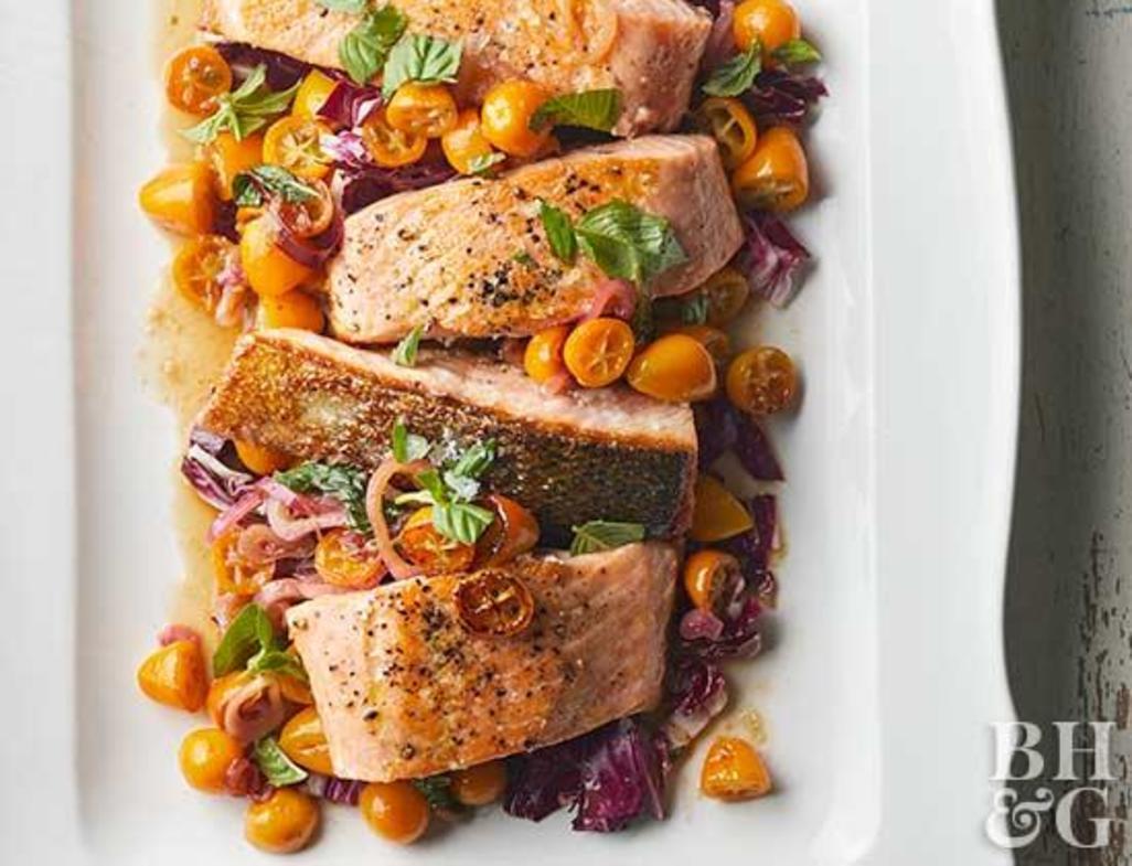 Pan seared salmon with kumquats