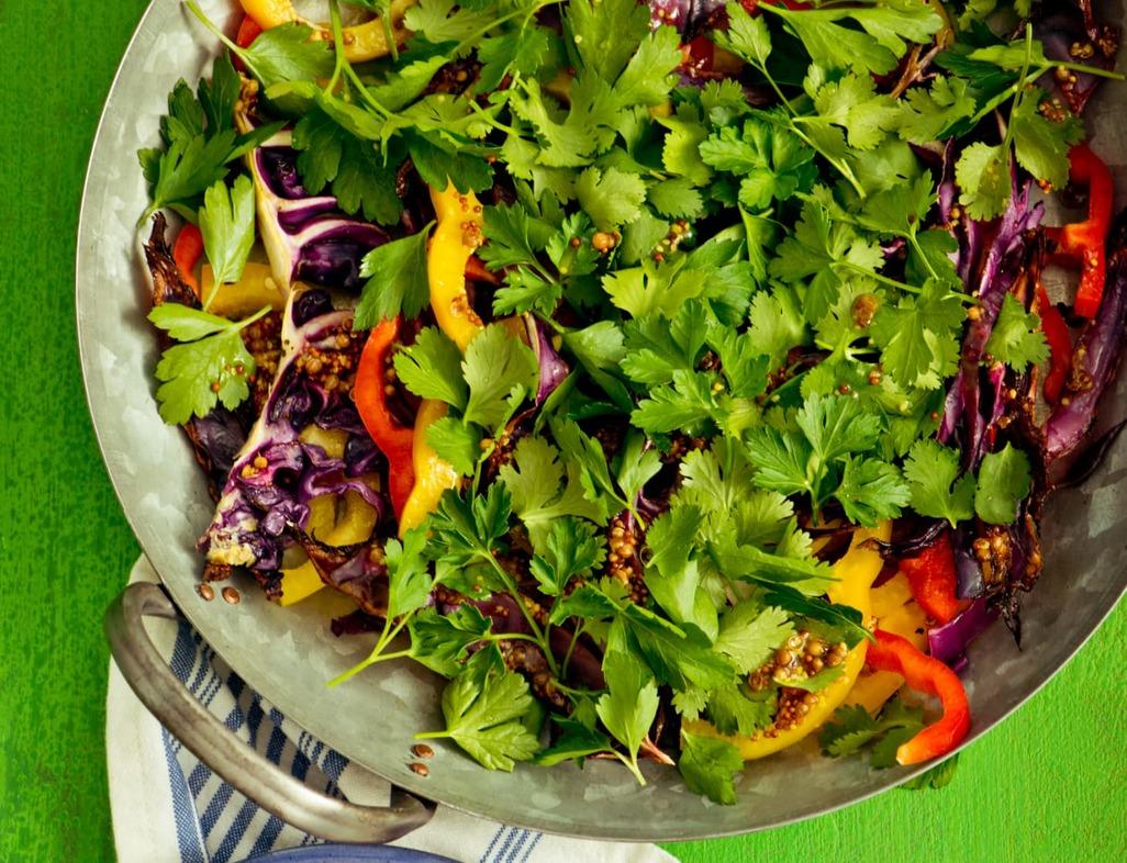 Roasted cabbage   rainbow pepper slaw image 1