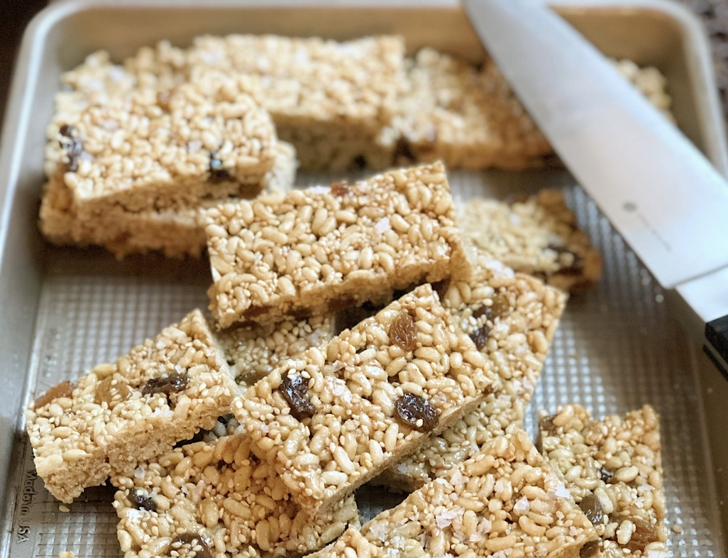 Toasted sesame bars vertical