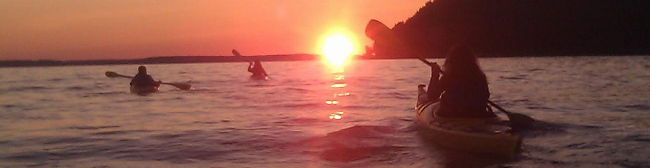 Sunset off the coast of Mackinac Island Michigan
