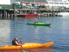 Children learning to kayak on Haldimand Bay