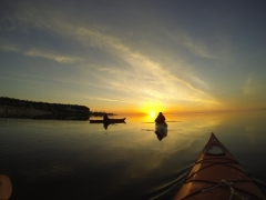 Kayaks on Lake Huron at dawn