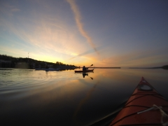 Kayaks at Sunrise on Lake Huron