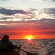 Sunrise over Lake Huron on Kayaks