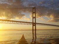 Watching sunrise on Mackinac Island from kayaks