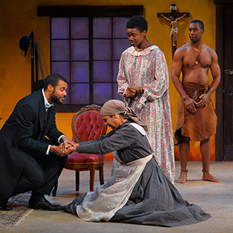 Jabari Brisport (Chilford), Elizabeth Carter (Mai Tamba), Katherine Renee Turner (Jekesai) and JaBen Early (Tamba) in THE CONVERT.