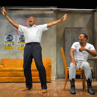 "Roscoe Orman and Eddie Ray Jackson co-star as fallen Hollywood star Stepin Fetchit and rising sport icon Muhammad Ali in MTC's ""Fetch Clay, Make Man."""