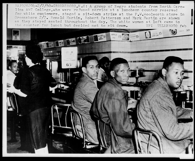 The Woolworth's lunch counter sit-in in Greensboro, North Carolina