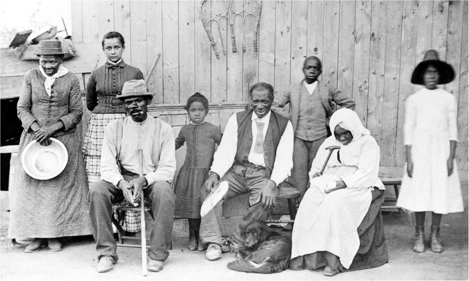 Harriet Tubman (far left) with her family