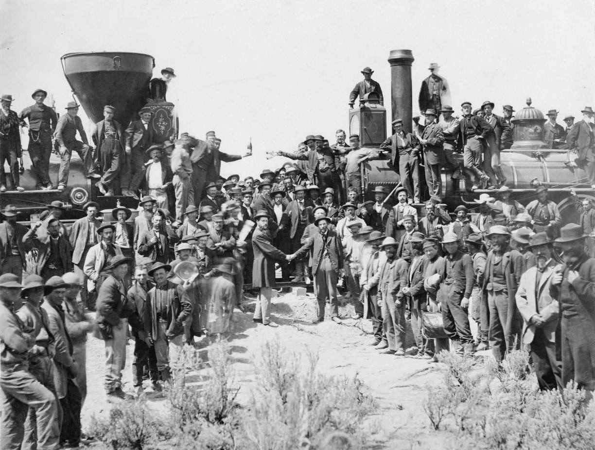 "The ceremonial driving of the ""golden spike"" at the completion of the First Transcontinental Railroad at Promontory summit, Utah, May10th 1869."