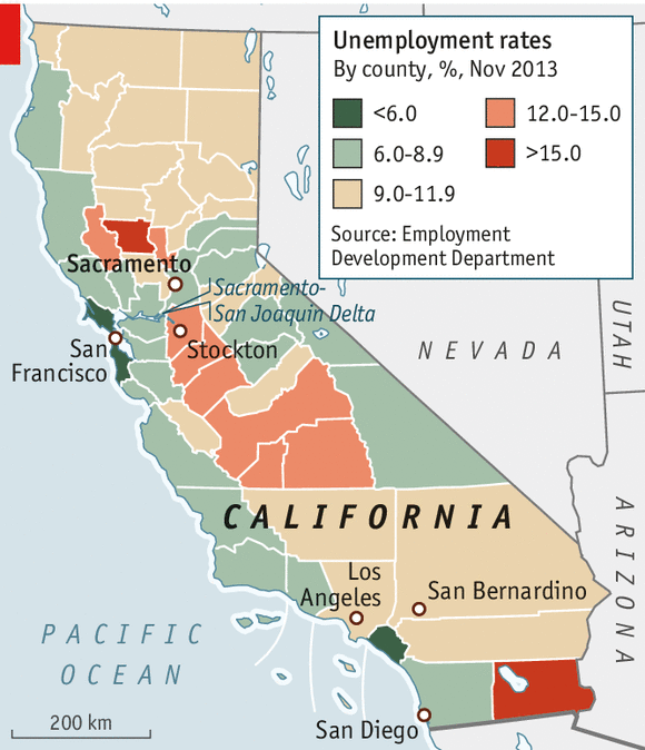 This map shows the range of unemployment rates in California's counties. (from The Economist)