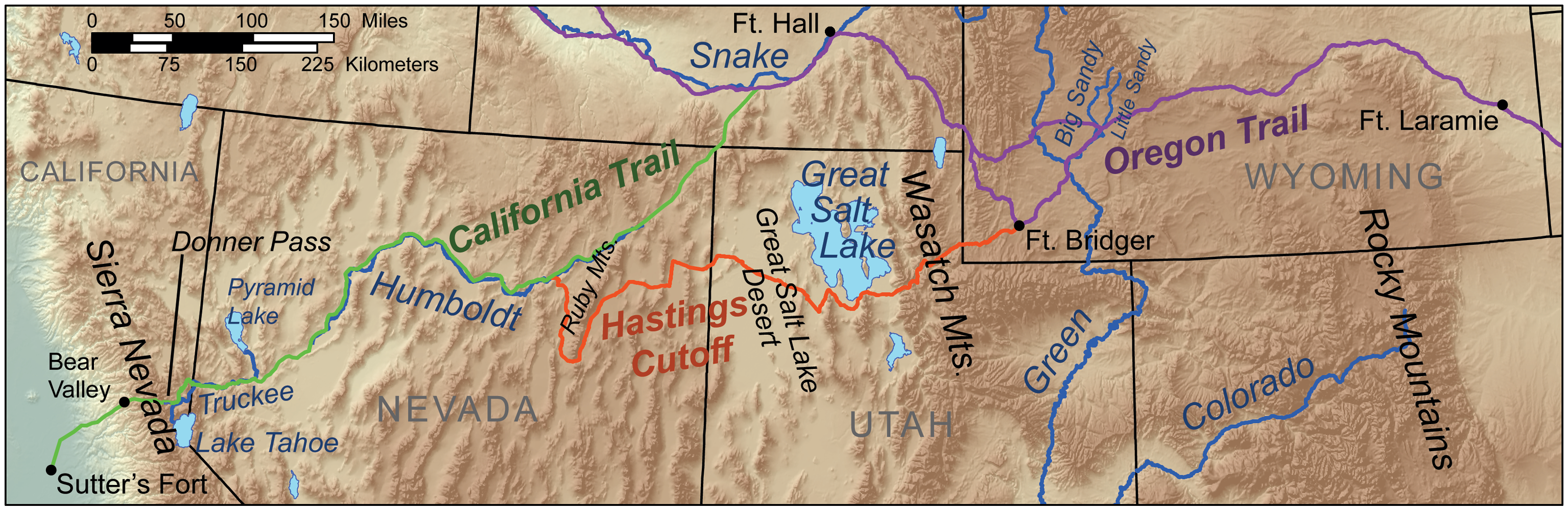 A map of the route taken by the Donner Party, including the ill-advised Hastings Cutoff
