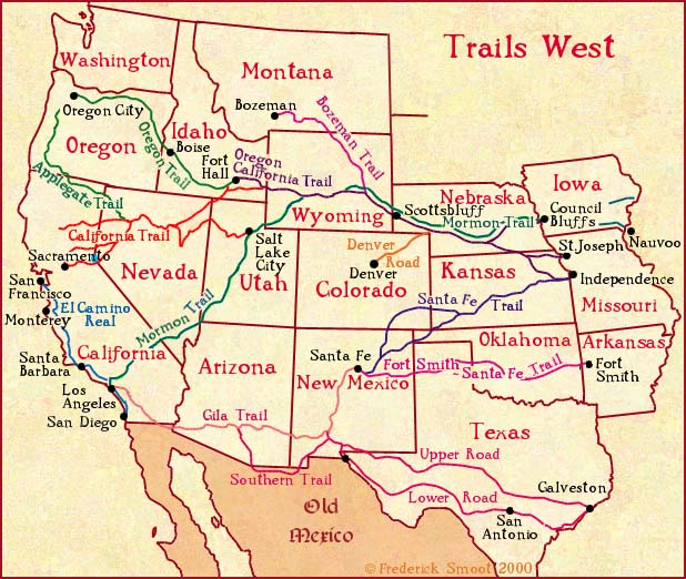 A map of the major pioneer trails across the American west.
