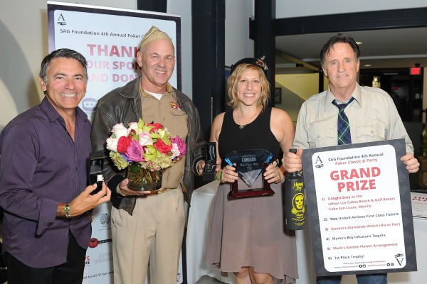 SANTA MONICA, CA - AUGUST 23: (L-R) Joe Cipriano, Paul Pape, Julie Marcus and Robert Hays attend the 4th Annual SAG Foundation Poker Classic and party benefiting the Don LaFontaine Voice-Over Lab at The Museum of Flying on August 23, 2014 in Santa Monica, California.  (Photo by Joshua Blanchard/Getty Images for The Screen Actors Guild Foundation)
