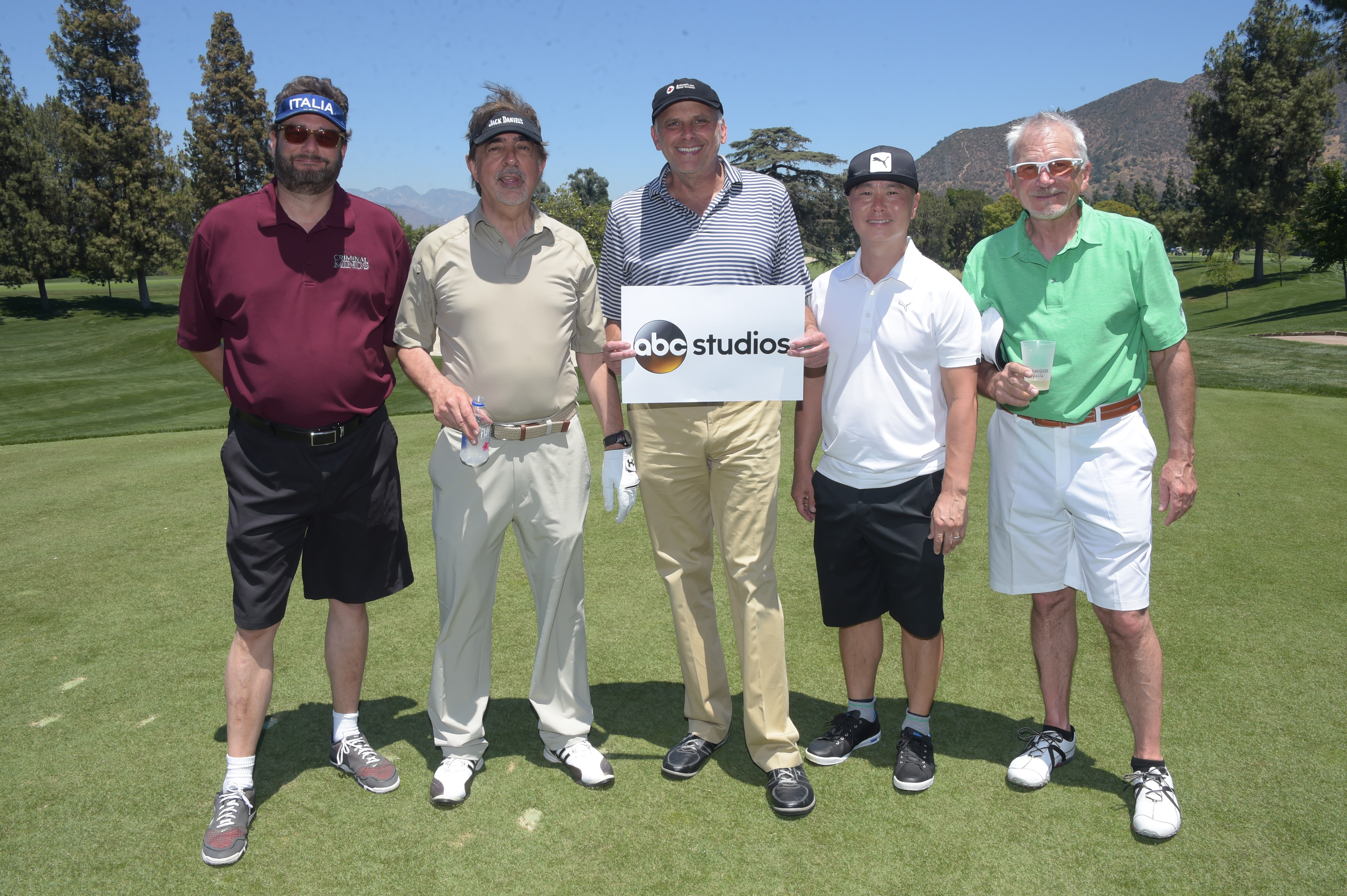 Dan Ramm, Joe Mantegna, Kurt Fuller, CS Lee and David Leisure of Team ABC Studios play at the Screen Actors Guild Foundation's 6th Annual Los Angeles Golf Classic on June 8, 2015 in Burbank, California. (Photo by Jason Kempin/Getty Images for The Screen Actors Guild Foundation)