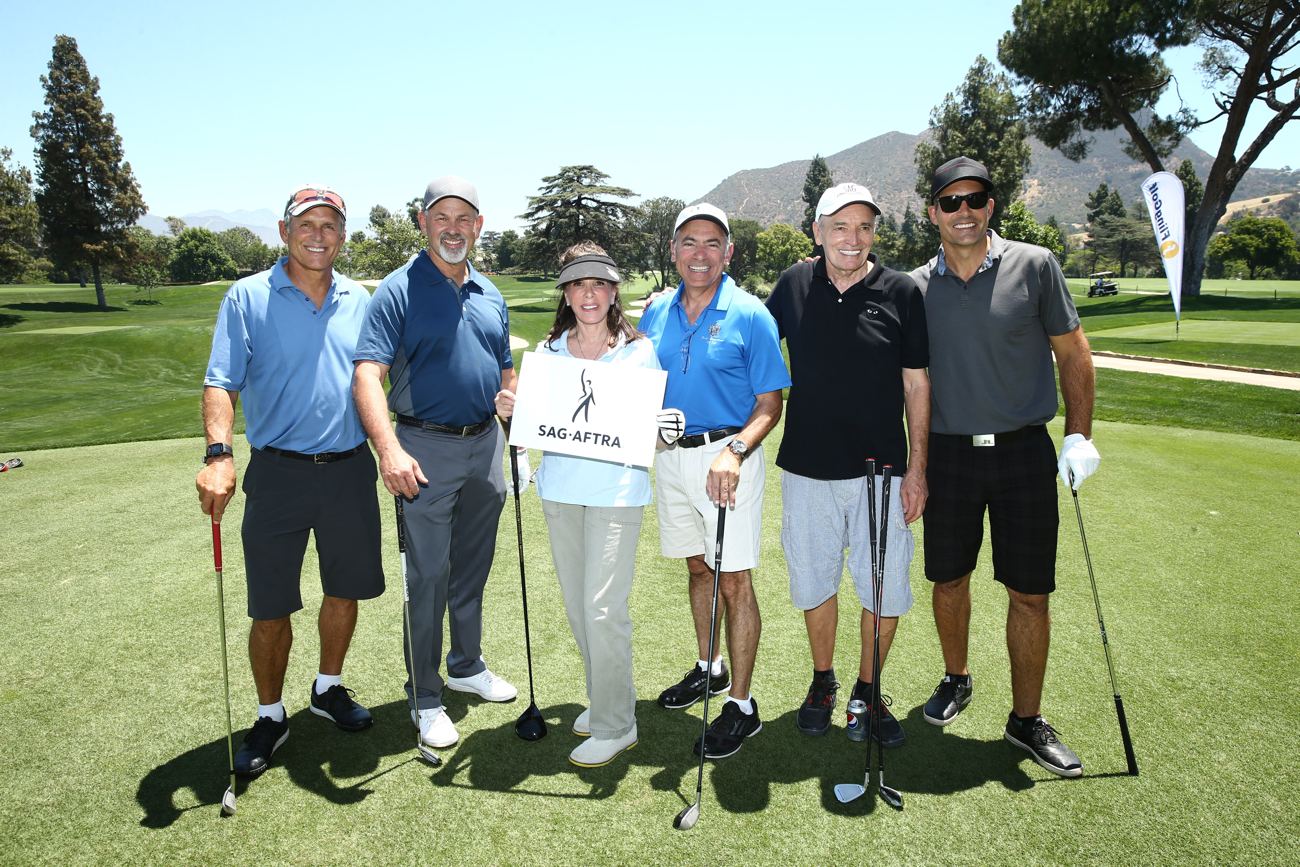 Gregory Harrison, Paul Pape, Kate Linder, Joe Cipriano, Tom Bower and Galen Gering of Team SAG-AFTRA play at the Screen Actors Guild Foundation's 6th Annual Los Angeles Golf Classic on June 8, 2015 in Burbank, California. (Photo by Mark Davis/Getty Images for The Screen Actors Guild Foundation)
