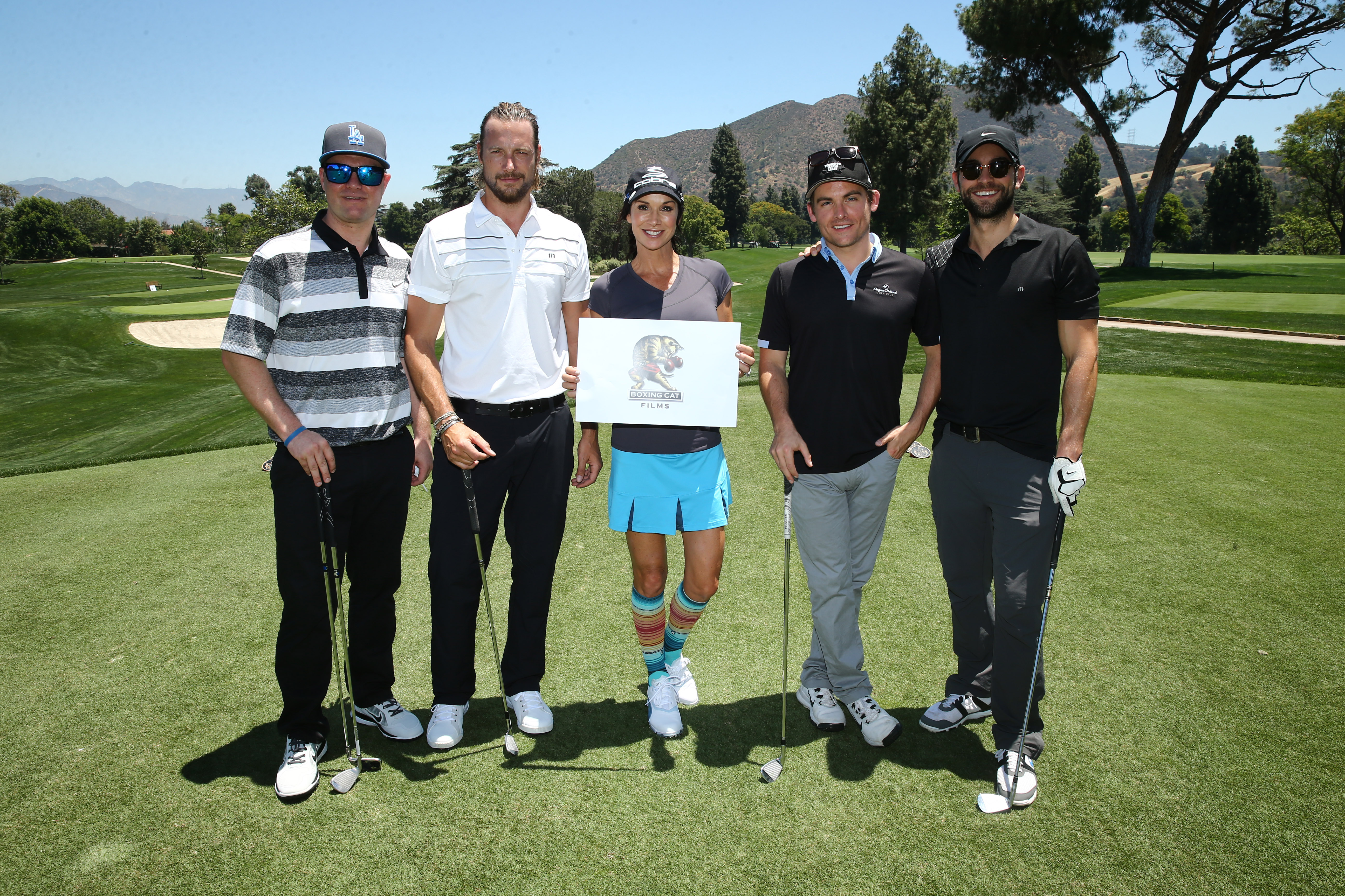 Zachary Ty Bryan, Gabriel Aubry, Debbe Dunning, Kevin Zegers and Chace Crawford of Team Boxing Cat play at the Screen Actors Guild Foundation's 6th Annual Los Angeles Golf Classic on June 8, 2015 in Burbank, California. (Photo by Mark Davis/Getty Images for The Screen Actors Guild Foundation)