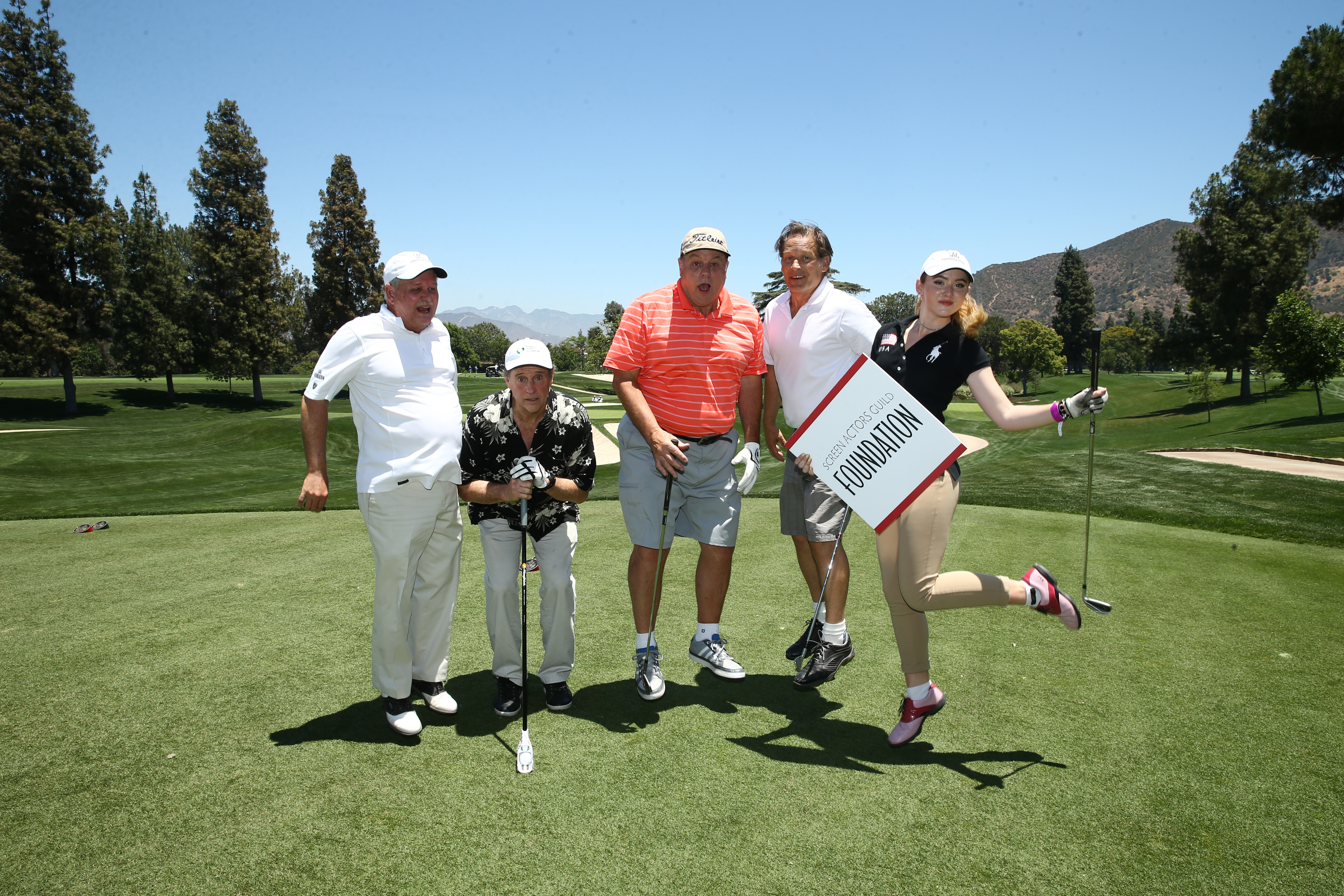 Dave Hutton, Robert Hays, Michael Ironside, James Remar and Kathryn Newton of Team SAG Foundation play at the Screen Actors Guild Foundation's 6th Annual Los Angeles Golf Classic on June 8, 2015 in Burbank, California. (Photo by Mark Davis/Getty Images for The Screen Actors Guild Foundation)