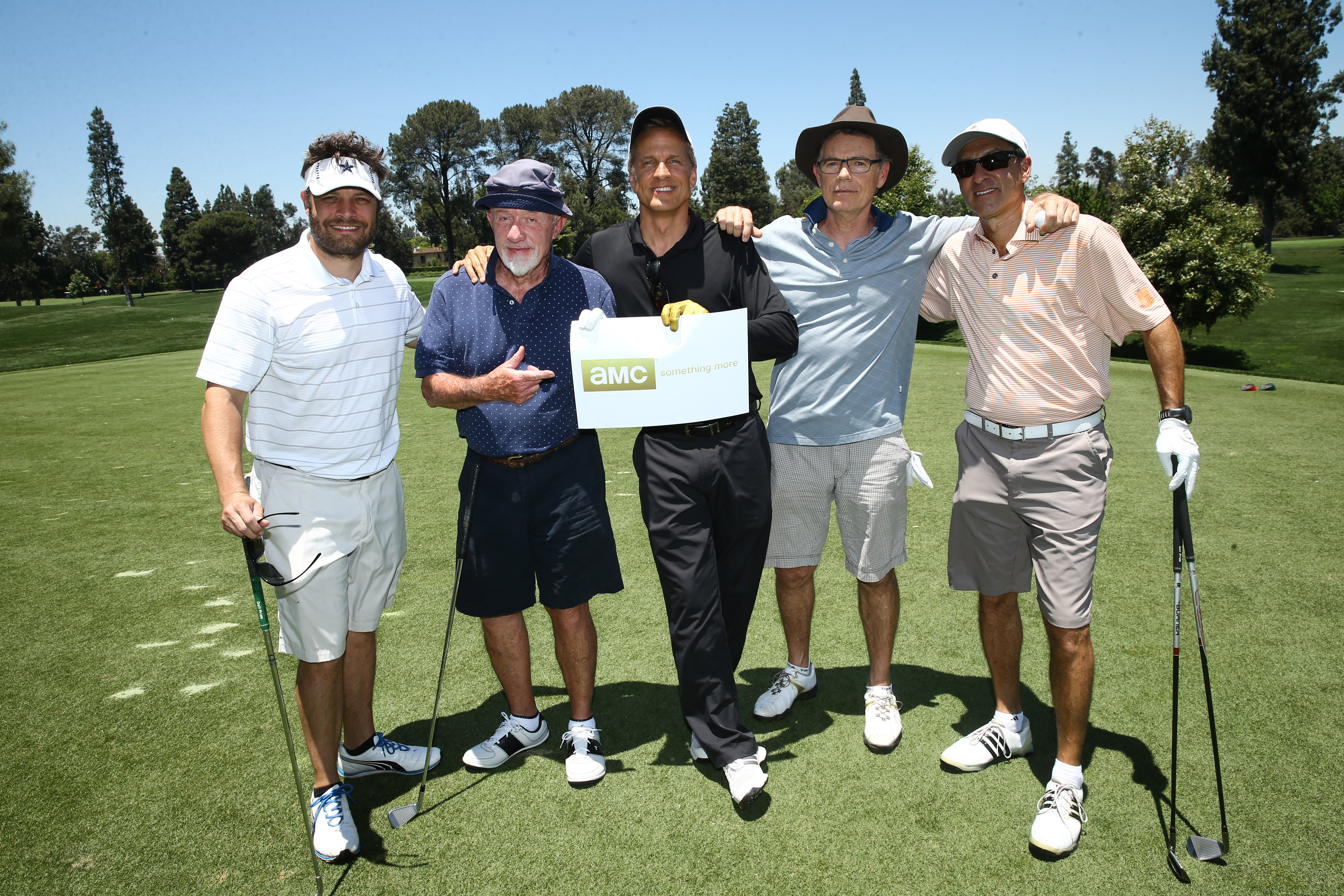 Jay Ferguson, Jonathan Banks, Patrick Fabian, Bruce Greenwood and Steve Lovett of Team AMC play at the Screen Actors Guild Foundation's 6th Annual Los Angeles Golf Classic on June 8, 2015 in Burbank, California. (Photo by Mark Davis/Getty Images for The Screen Actors Guild Foundation)