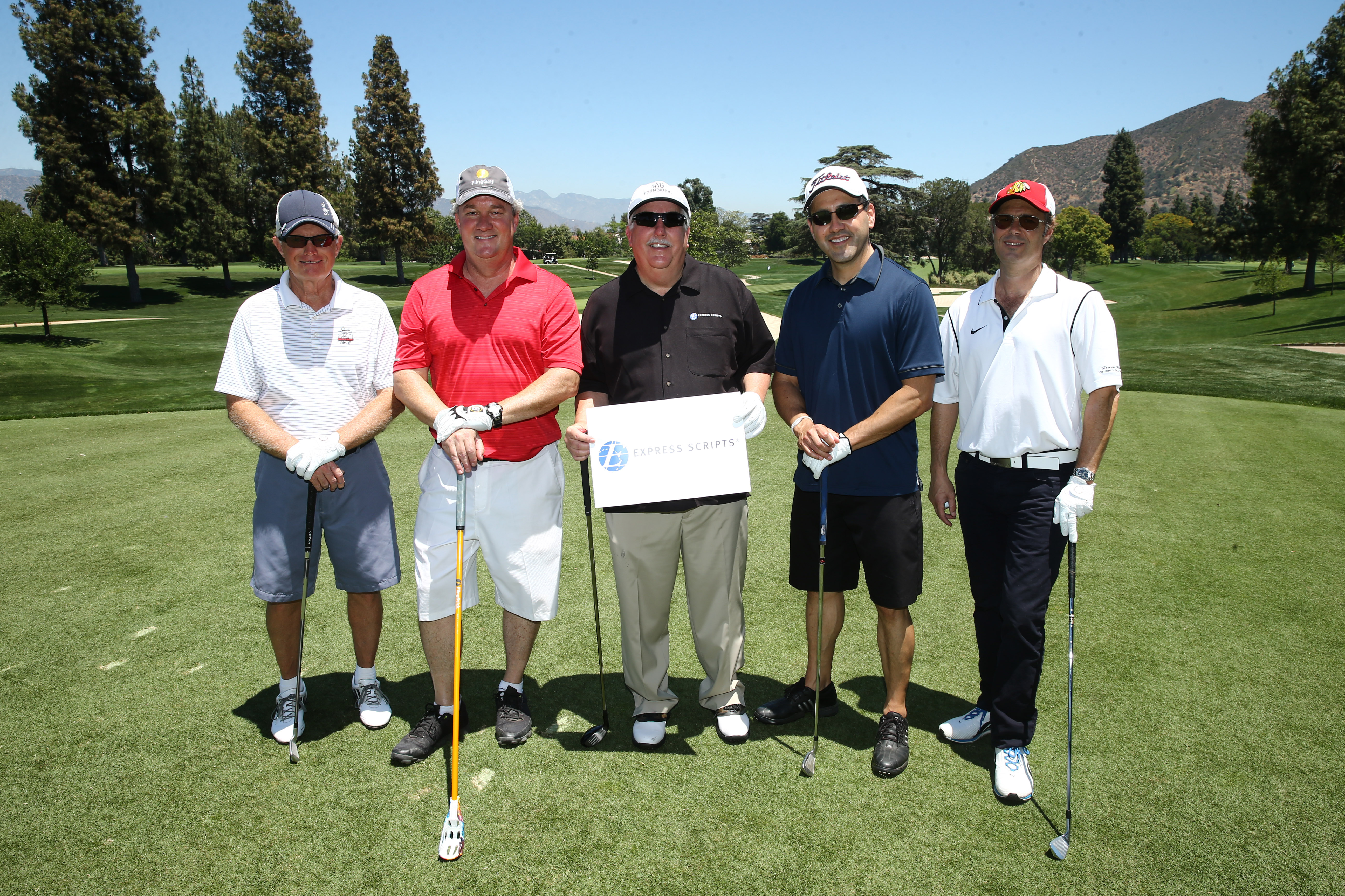 Terry Young, Greg Mason, Christopher Rowland, Michael Estrada and Carlos Bernard of Team Express Scripts play at the Screen Actors Guild Foundation's 6th Annual Los Angeles Golf Classic on June 8, 2015 in Burbank, California. (Photo by Mark Davis/Getty Images for The Screen Actors Guild Foundation)