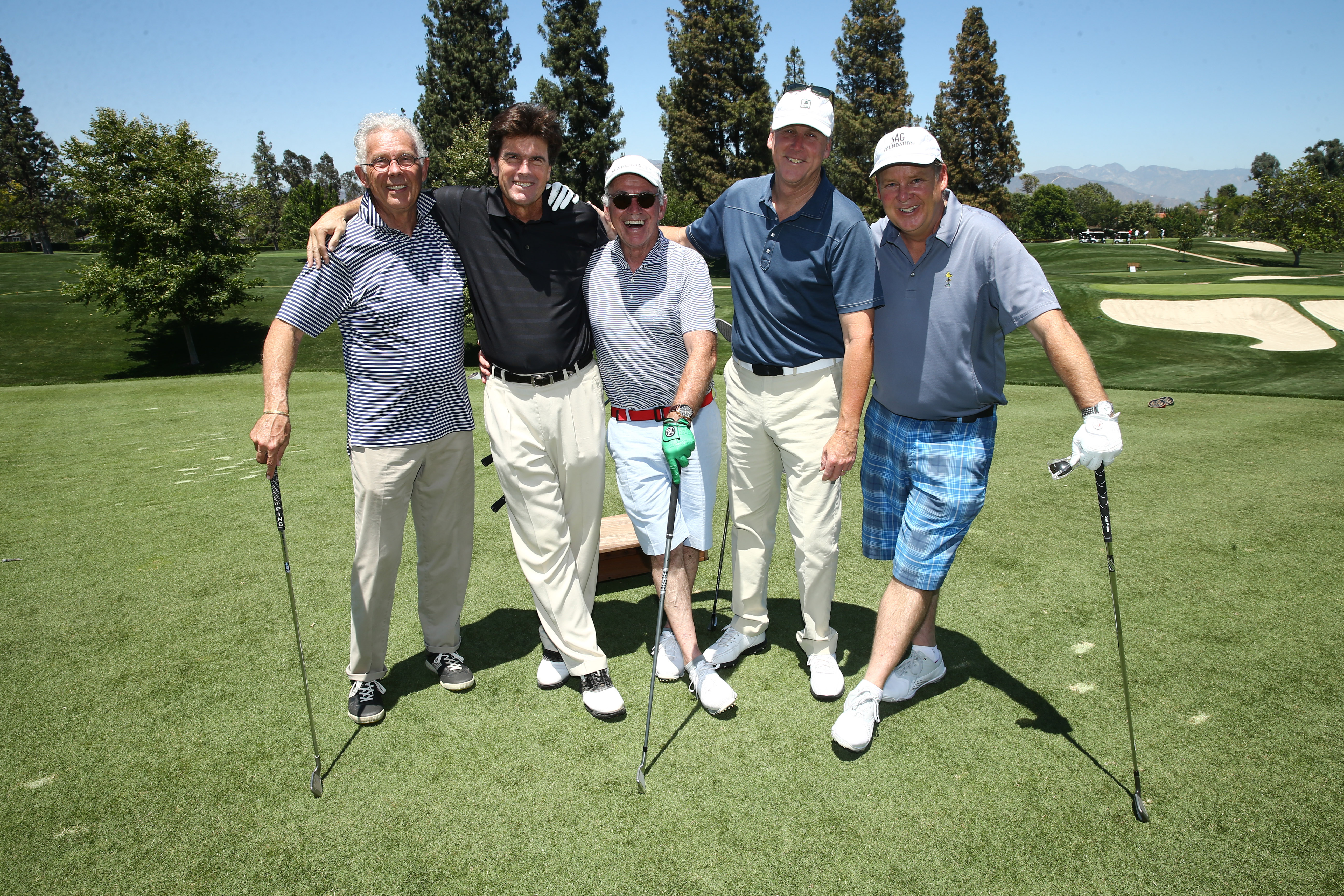 Cameron Todd, Dallas Marvil, Marty Hackel, Mark Harryman and Joel Murray of Team Fairway & Greene play at the Screen Actors Guild Foundation's 6th Annual Los Angeles Golf Classic on June 8, 2015 in Burbank, California. (Photo by Mark Davis/Getty Images for The Screen Actors Guild Foundation)