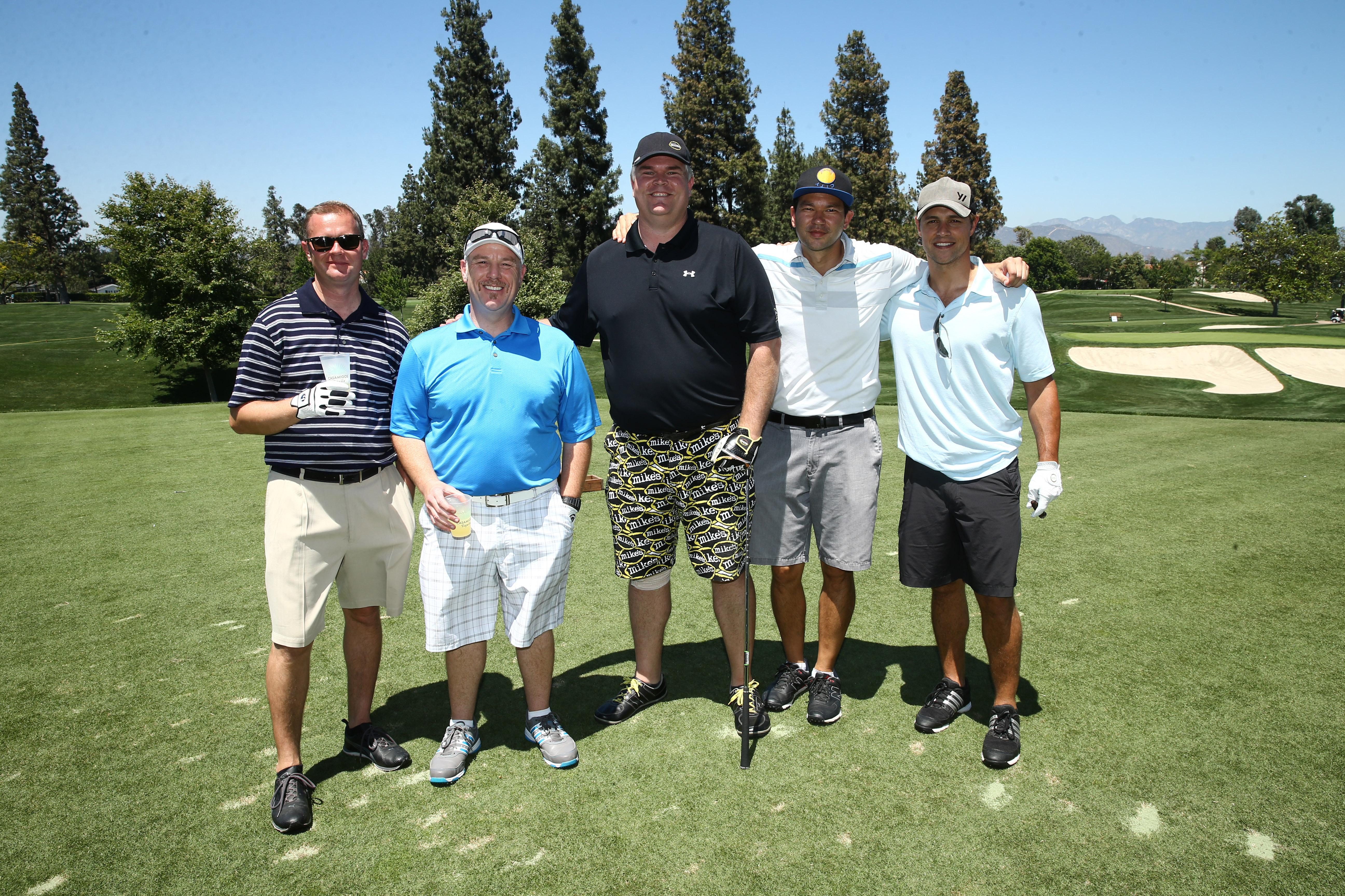 Jonathan St. Clair, Greg Brittsan, James Thwing, Clarke Miyasaki and Sam Page play at the Screen Actors Guild Foundation's 6th Annual Los Angeles Golf Classic on June 8, 2015 in Burbank, California. (Photo by Mark Davis/Getty Images for The Screen Actors Guild Foundation)