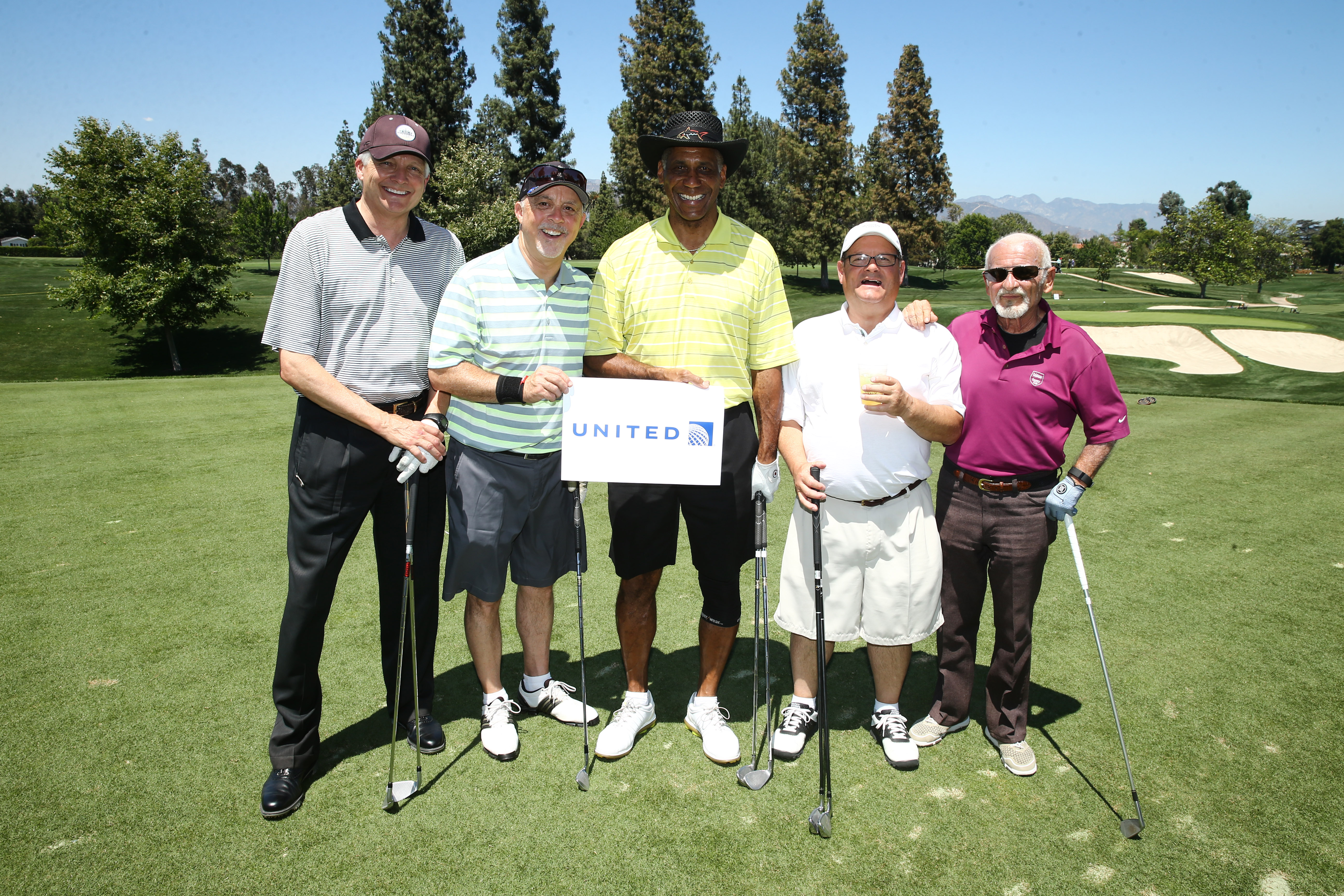 Robert French, Tom Devany, Reggie McDowell, Gary Meek, and Joe Pesci of Team United play at the Screen Actors Guild Foundation's 6th Annual Los Angeles Golf Classic on June 8, 2015 in Burbank, California. (Photo by Mark Davis/Getty Images for The Screen Actors Guild Foundation)