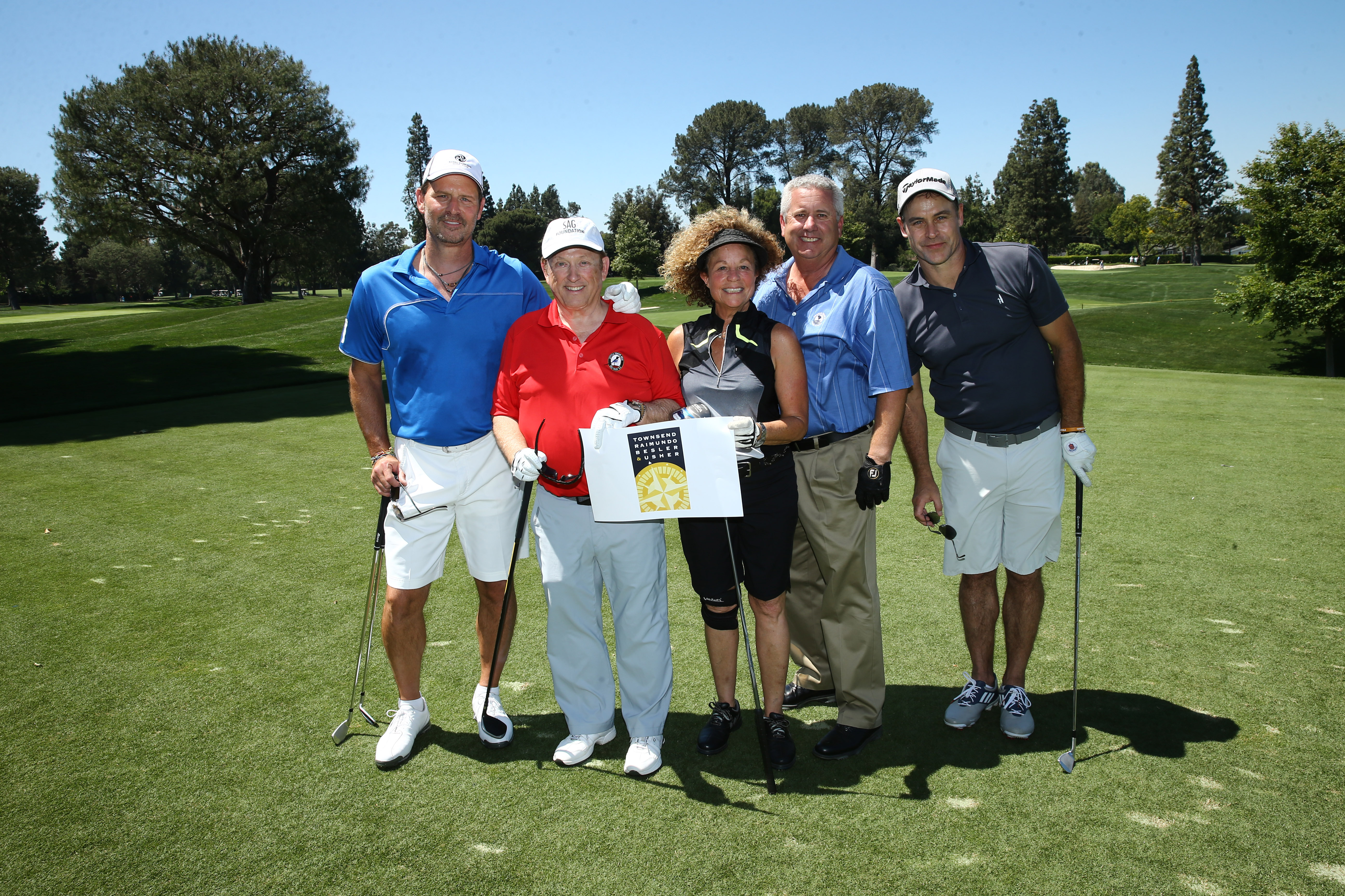 David Townsend, Mike Nevins, Boyd Kestner, Judie Goldman, and Jeff Nordling of Team Townsend play at the Screen Actors Guild Foundation's 6th Annual Los Angeles Golf Classic on June 8, 2015 in Burbank, California. (Photo by Mark Davis/Getty Images for The Screen Actors Guild Foundation)