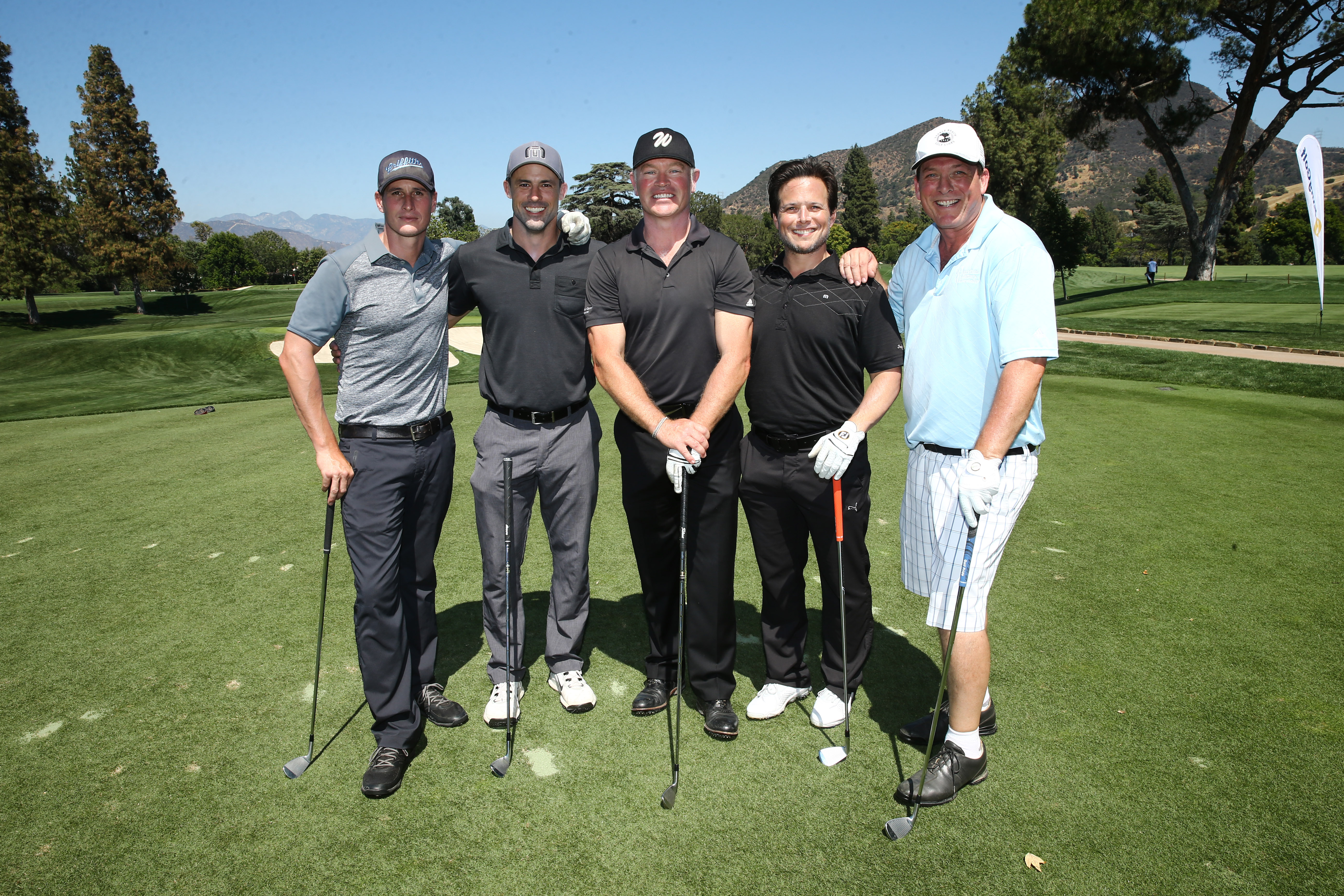 Brenden Fehr, Philip Boyd, Neal McDonough, Scott Wolf and Anthony Snow play at the Screen Actors Guild Foundation's 6th Annual Los Angeles Golf Classic on June 8, 2015 in Burbank, California. (Photo by Mark Davis/Getty Images for The Screen Actors Guild Foundation)