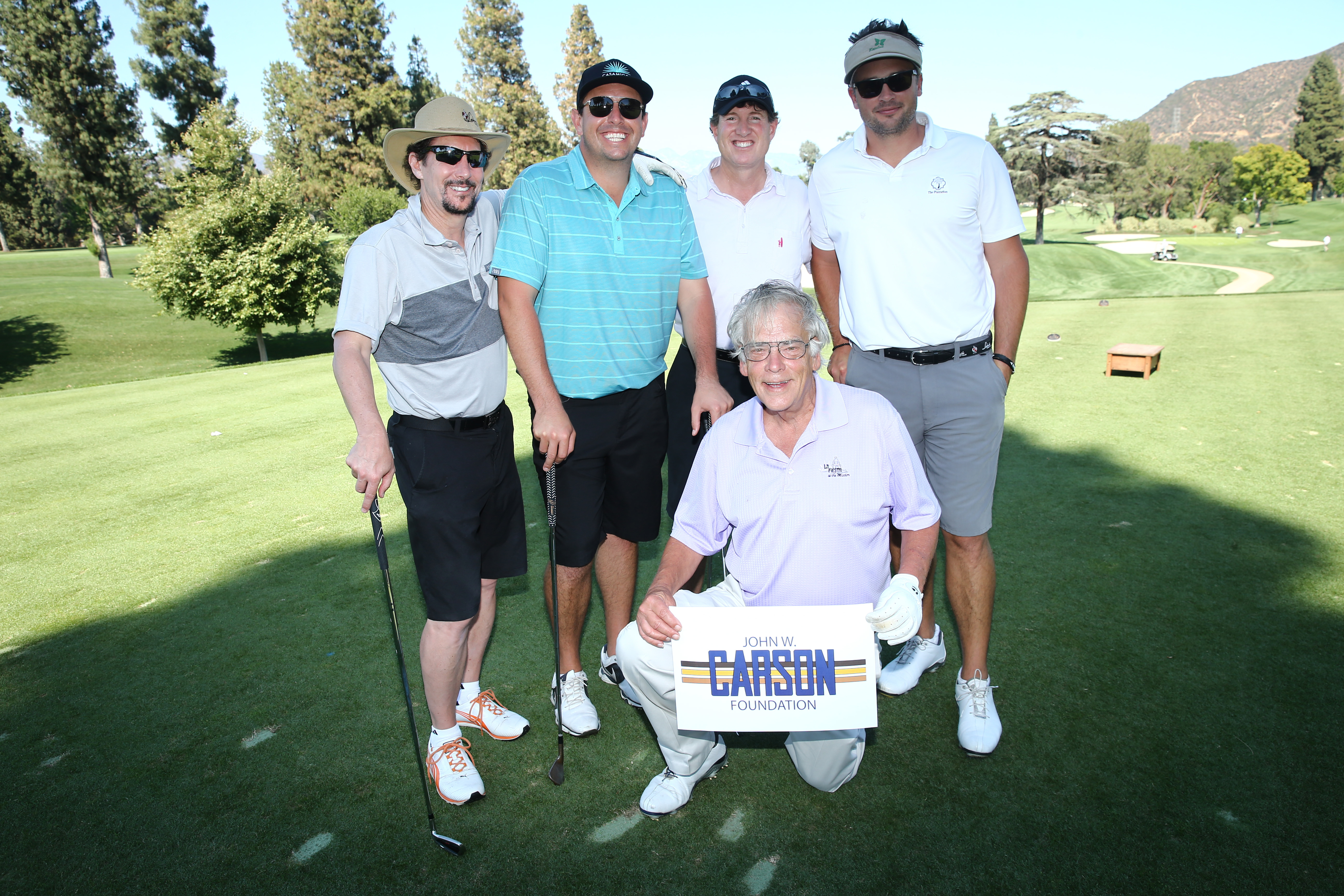Larry Witzer, Travis Johnson, Tony Behrstock, Lee Davis, and Tom Welling of Team Carson Foundation play at the Screen Actors Guild Foundation's 6th Annual Los Angeles Golf Classic on June 8, 2015 in Burbank, California. (Photo by Mark Davis/Getty Images for The Screen Actors Guild Foundation)