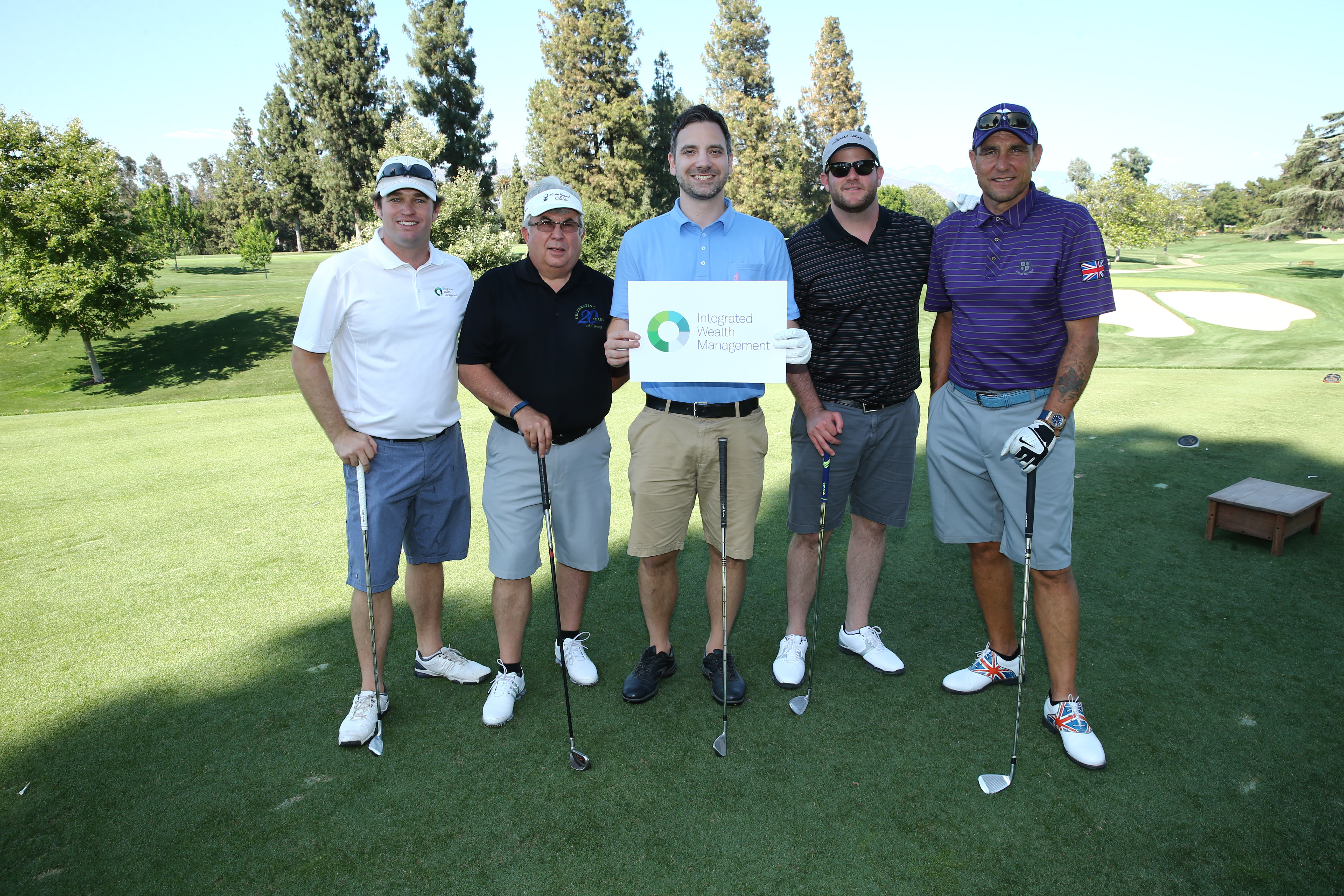 Brandt Kuhn, C.R. Burke, Craig Yakelis, Vince Bonafede and Vinnie Jones of Team Integrated Wealth Management play at the Screen Actors Guild Foundation's 6th Annual Los Angeles Golf Classic on June 8, 2015 in Burbank, California. (Photo by Mark Davis/Getty Images for The Screen Actors Guild Foundation)
