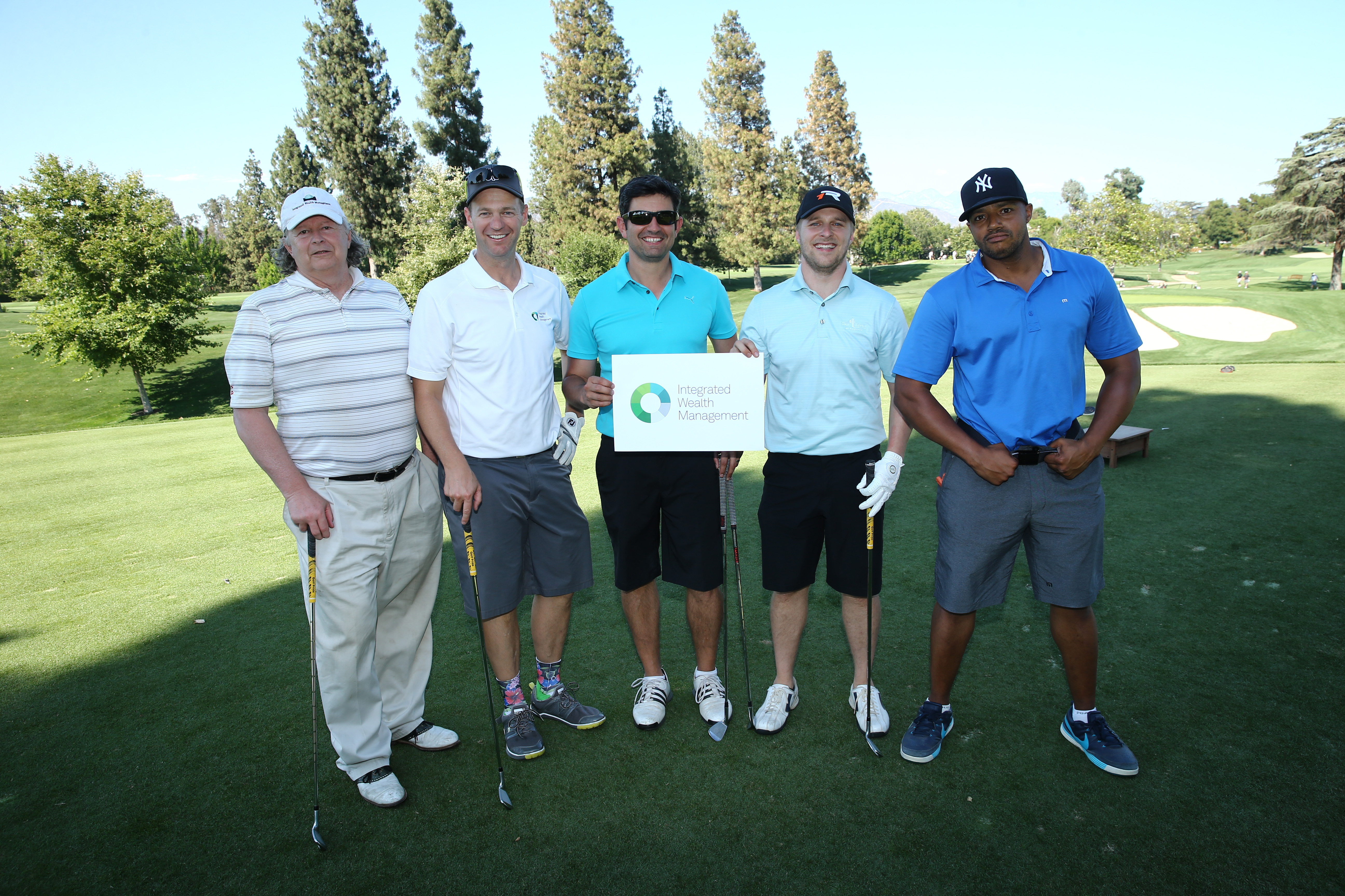 Paul Ventura, Dave Thatcher, Cort Green, Maclain Nelson and Donald Faison of Team Integrated Wealth Management play at the Screen Actors Guild Foundation's 6th Annual Los Angeles Golf Classic on June 8, 2015 in Burbank, California. (Photo by Mark Davis/Getty Images for The Screen Actors Guild Foundation)