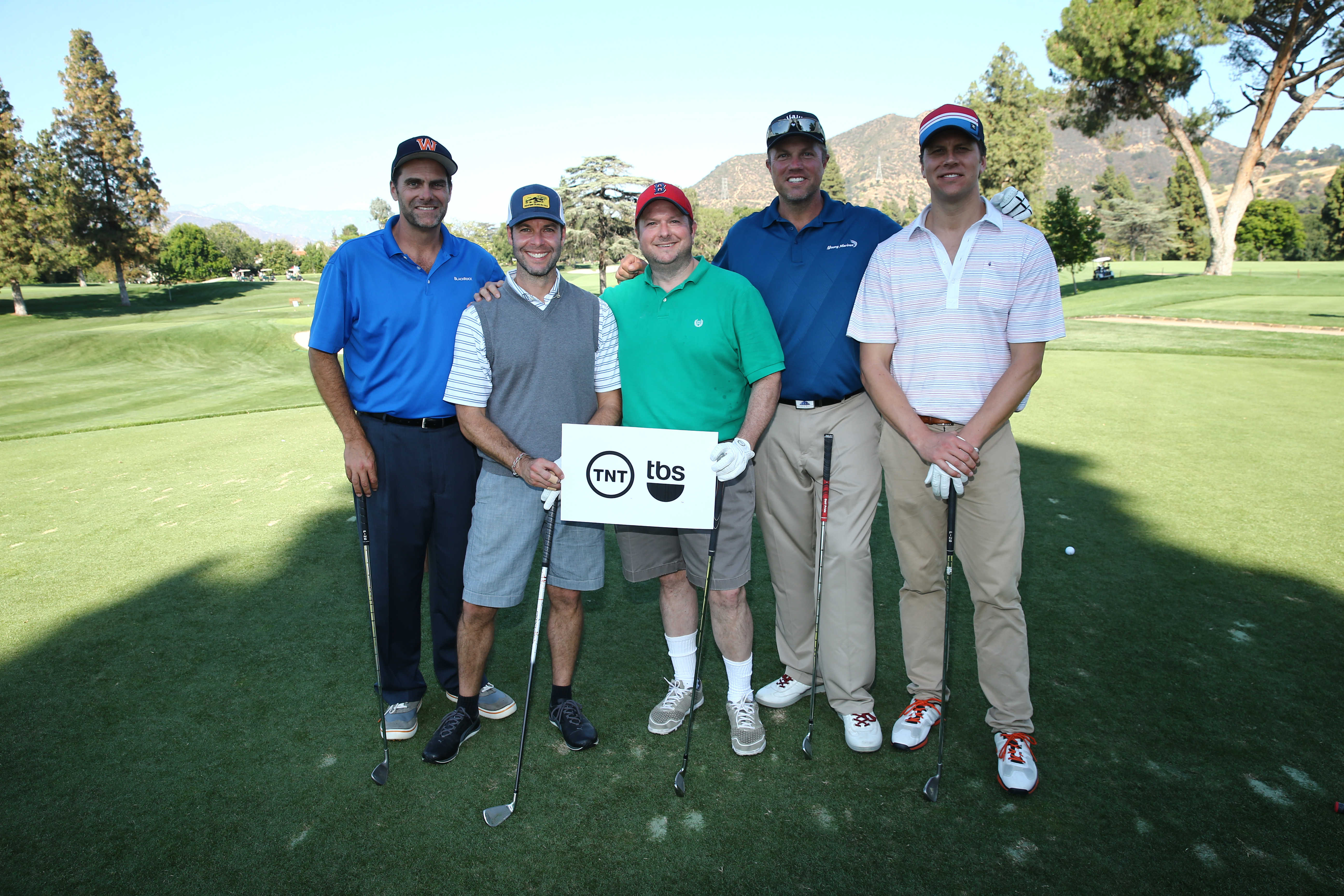 Andy Buckley, Brett Weitz, Sam Linsky, Adam Baldwin and Hayes MacArthur of Team TNT/TBS play at the Screen Actors Guild Foundation's 6th Annual Los Angeles Golf Classic on June 8, 2015 in Burbank, California. (Photo by Mark Davis/Getty Images for The Screen Actors Guild Foundation)
