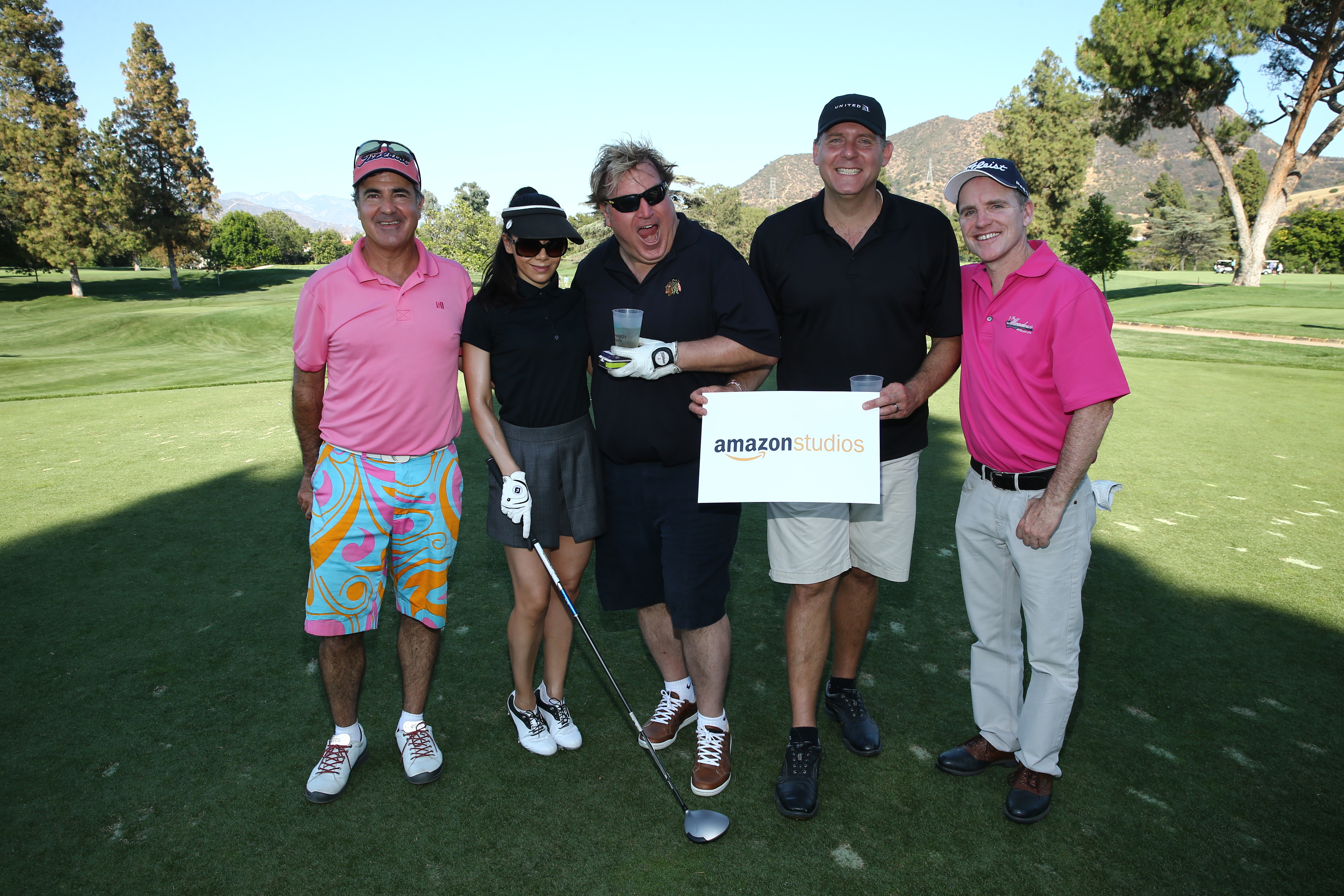 Jackie Flynn, Aimee Garcia, Jim Michaels, Robert Porter and Greg Fitzsimmons of Team Amazon Studios play at the Screen Actors Guild Foundation's 6th Annual Los Angeles Golf Classic on June 8, 2015 in Burbank, California. (Photo by Mark Davis/Getty Images for The Screen Actors Guild Foundation)